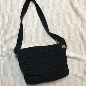 The Sak Black Crochet Shoulder Bag  Flap Over